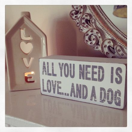 30% off All You Need Is Love & A Dog White Block Sign